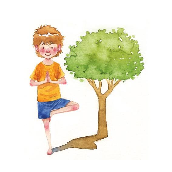 Ilustración de un niño en postura de yoga