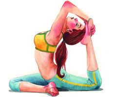 Ilustración de una mujer practicando yoga