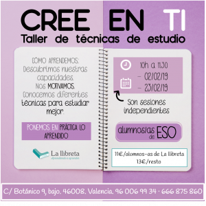 Cree en ti- Taller de técnicas de estudio @ Academia la llibreta | València | Comunidad Valenciana | España